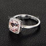 Cushion Morganite Engagement Ring Pave Diamond Halo 14K Rose Gold 8mm - Lord of Gem Rings - 3