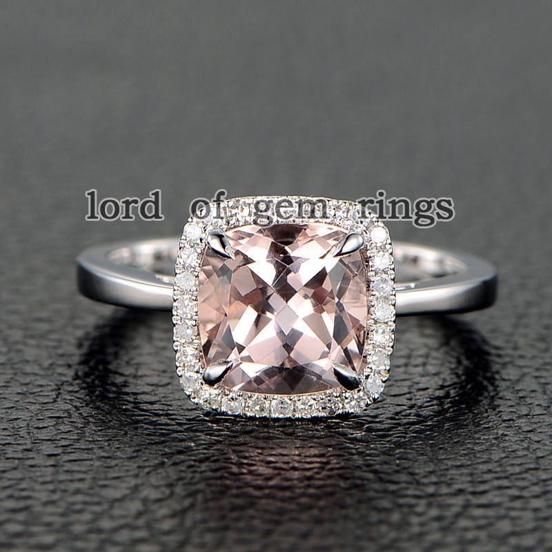 Cushion Morganite Engagement Ring Pave Diamond Halo 14K Rose Gold 8mm - Lord of Gem Rings - 2