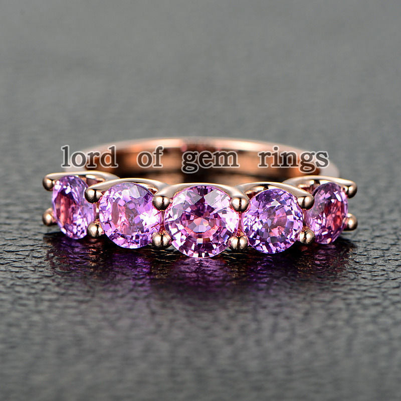 Round Pink Sapphire Wedding Band Anniversary Ring 14K Rose Gold 5 stones - Lord of Gem Rings - 1