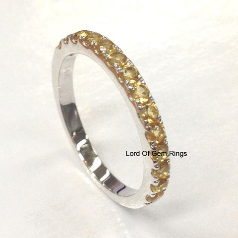Citrine Wedding Band Half Eternity Anniversary Ring 14K White Gold - Lord of Gem Rings - 1