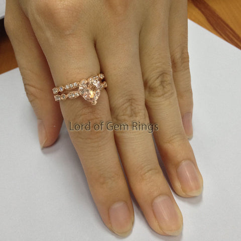 Heart Morganite Engagement Ring Sets Pave Diamond Wedding 14K Rose Gold 8mm Enternity Vintage Style - Lord of Gem Rings - 1