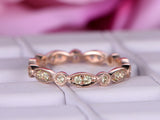 Peridot Wedding Band Art Deco Eternity Anniversary Ring 14K Rose Gold 1.5mm