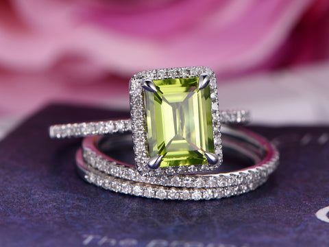 Emerald Cut Peridot Engagement Ring Bridal Trio Sets Pave Diamond Wedding 14K White Gold 6x8mm