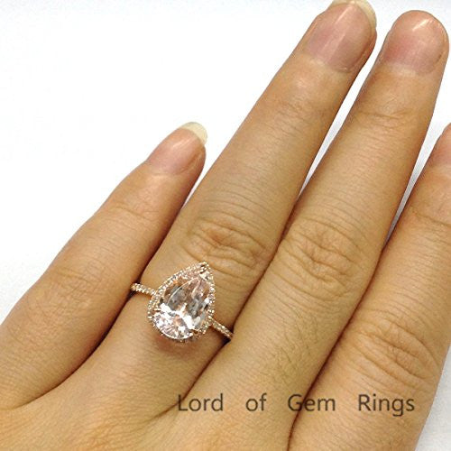 Pear Morganite Engagement Ring Pave Diamond Wedding 14K White Gold 9x11mm - Lord of Gem Rings - 6