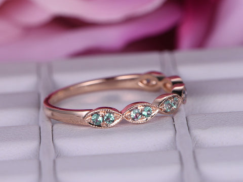 Green Alexandrite Wedding Band Half Eternity Anniversary Ring 14K Rose Gold