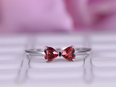 Heart Garnet Engagement Ring 14K White Gold 5mm