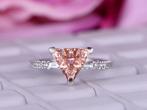 Trillion Morganite Engagement Ring Pave Diamond Wedding 14K White Gold 9mm
