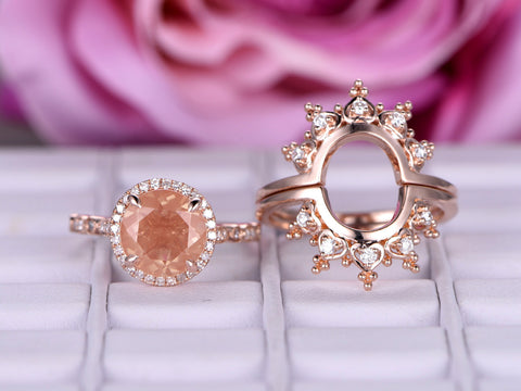 Round Sunstone Engagement Ring Bridal Trio Sets Moissanite Tiara Wedding 14K Rose Gold 9mm