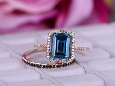 Emerald Cut London Blue Topaz Engagement Ring Sets Black Diamond  Wedding 14K Rose Gold 8x10mm