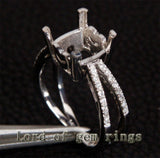 Diamond Engagement Semi Mount Ring 14K White Gold Setting Cushion 9mm - Lord of Gem Rings - 5