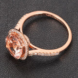 Ready to Ship - Round Morganite Engagement Ring Pave Diamond Wedding 14K Rose Gold 8mm - Lord of Gem Rings - 6