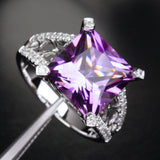 Princess Amethyst Engagement Ring Pave Diamond Wedding 14K White Gold 10.5mm - Lord of Gem Rings - 3