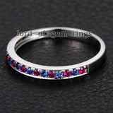 Pave Ruby/Sapphire Wedding Band Half Eternity Anniversary Ring 14K White Gold - Lord of Gem Rings - 5