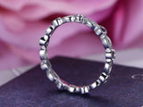 Marquise Moissanite Amethyst Wedding Band Art Deco Eternity Ring 14K White Gold