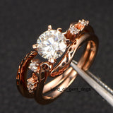 Round Moissanite Engagement Ring VS-H Diamond 14K Rose Gold 6.5mm Unique Band - Lord of Gem Rings - 5