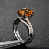 Cushion Citrine Engagement Ring Sets Pave Diamond Wedding 14K Yellow Gold 9mm Curved Band - Lord of Gem Rings - 5