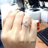 Heart Morganite Engagement Ring Diamond Halo 14K Yellow Gold 8mm - Lord of Gem Rings - 5
