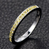 Pave Yellow Sapphire Wedding Band Half Eternity Anniversary Ring 14K White Gold - Lord of Gem Rings - 5