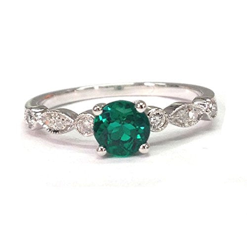 Round Emerald Engagement Ring Pave Diamond Wedding 14K White Gold,5mm,Art Deco Style - Lord of Gem Rings - 5