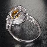 Pear Citrine Engagement Ring Pave Diamond Wedding 14K White Gold 7x9mm Double Halo - Lord of Gem Rings - 5