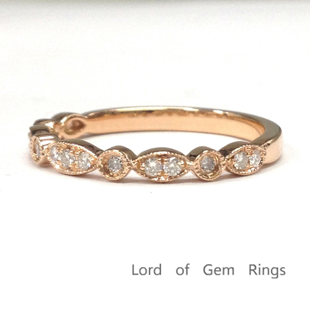 Pave Diamond Wedding Band Half Eternity Anniversary Ring 14K Rose Gold SI/H Diamonds Art Deco Antique - Lord of Gem Rings - 5