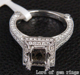 Diamond Engagement Semi Mount Ring 14K White Gold Setting Princess 5.25-6.25mm - Lord of Gem Rings - 5