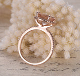 Round Morganite Engagement Ring Pave Diamond HALO 14K Rose Gold 9mm - Lord of Gem Rings - 4