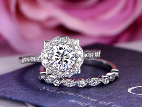Round Moissanite Cathedral Ring Sets Diamond Floral Halo 14K White Gold 7mm