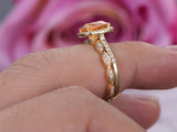 Cushion Citrine Wedding Ring Sets Art Deco  Diamond Wedding band 14K Yellow Gold 8mm