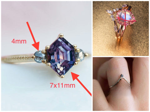 Reserved for GY- Alexandrite Hexagon Engagement Ring Set 14K Rose Gold