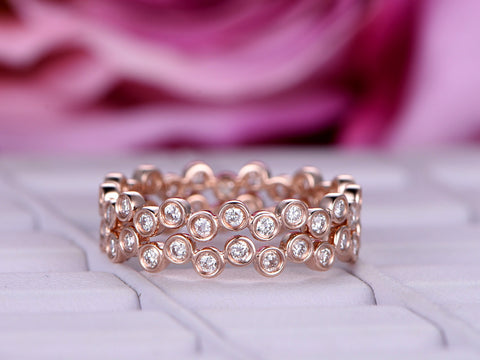 Diamond Wedding Band Sets Eternity Anniversary Ring 14K Rose Gold