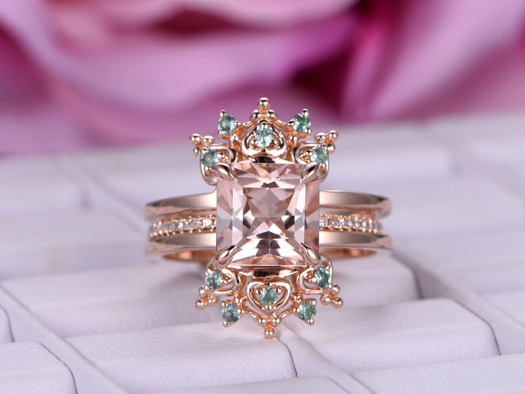 1055 Princess Morganite Engagement Ring Sets Alexandrite