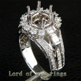 Unique 8mm Round Cut 14K White Gold 1.05CT Diamond Semi Mount Ring Setting 6.34g - Lord of Gem Rings - 6