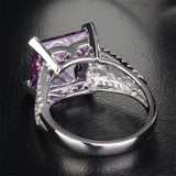 Princess Amethyst Engagement Ring Pave Diamond Wedding 14K White Gold 10.5mm - Lord of Gem Rings - 4