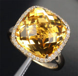 Cushion Citrine Engagement Ring Pave Diamond Wedding 14k yellow gold - Lord of Gem Rings - 8