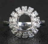 Flower 7x8.5mm Oval Cut 14K White Gold .38ct Diamonds Engagement Semi Mount Ring - Lord of Gem Rings - 6