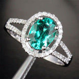 Reserved for Sarah Cushion Emerald Engagement Ring Pave Diamond Wedding 14k White Gold - Lord of Gem Rings - 7