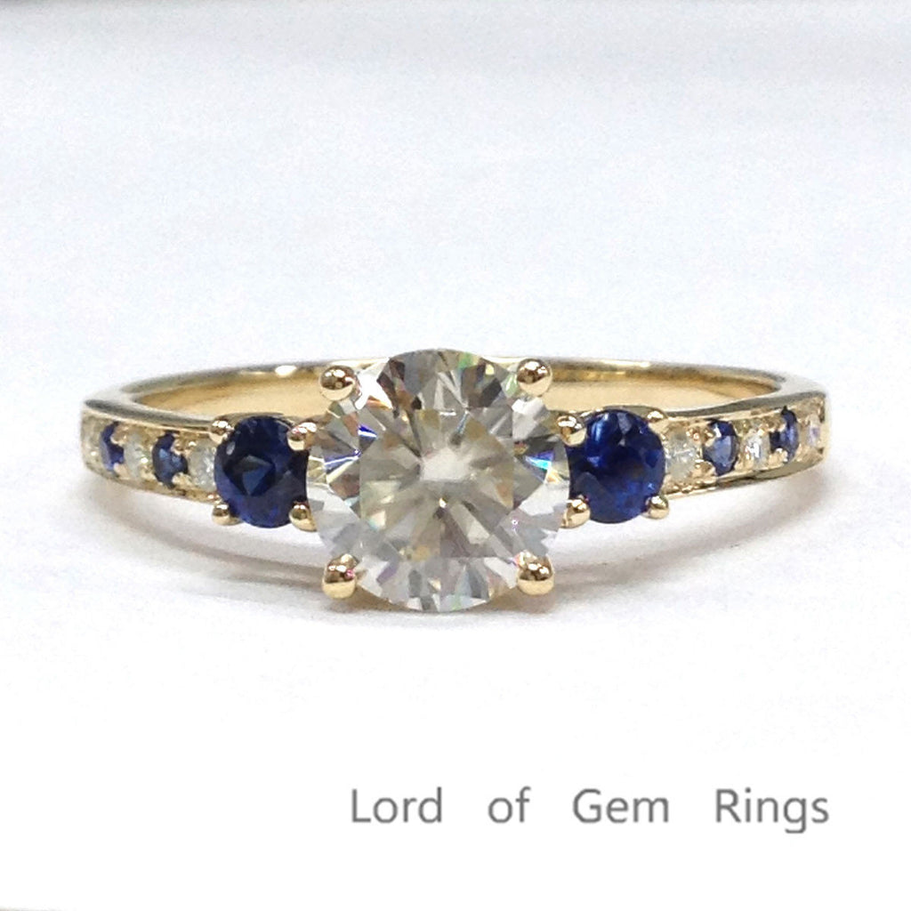 Round Moissanite Engagement Ring Pave Sapphire Moissanite Wedding 14K Yellow Gold 6.5mm - Lord of Gem Rings - 6