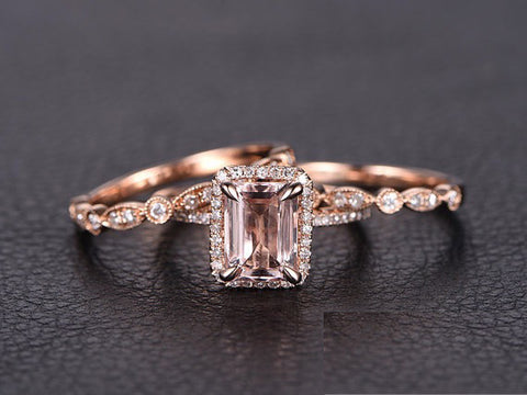 Reserved for ITU Emerald Cut Morganite Ring Trio Sets Diamond Art Deco Bands 14K Rose Gold