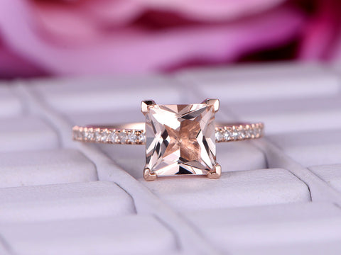 Princess Morganite Engagement Ring Pave Diamond Wedding 14K Rose Gold 6.5mm