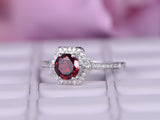 Round Ruby Engagement Ring Diamond Hexagon Halo 14k White Gold 6mm