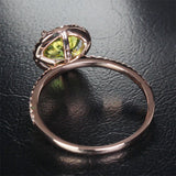 Round Peridot Engagement Ring Pave Diamond Wedding 14k Rose Gold 7mm - Lord of Gem Rings - 7