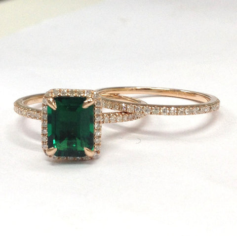Emerald Shape Emerald Engagement Ring Sets Pave Diamond Wedding 14K Rose Gold 6x8mm - Lord of Gem Rings - 1