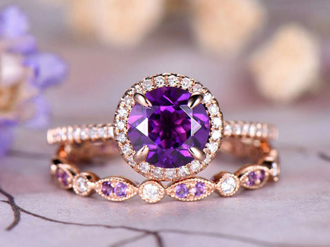 7mm Round Cut Amethyst Engagement Ring Set,Marquise Diamond Wedding Band,14k Rose Gold,Anniversary ring,Promise ring