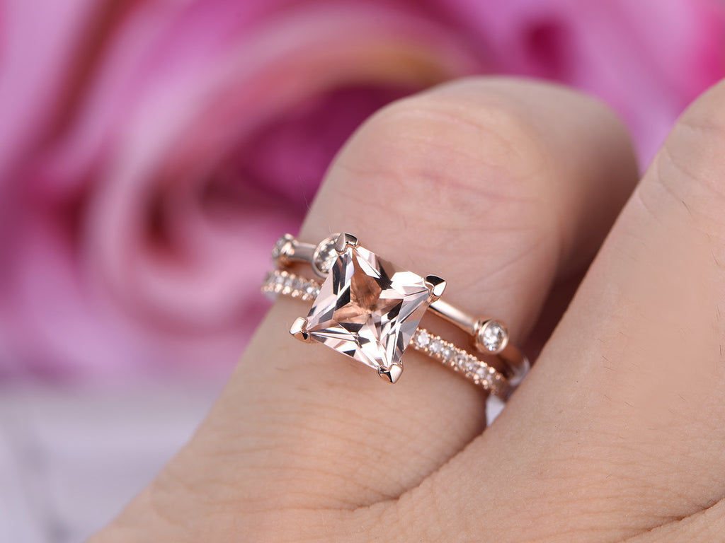 $775 Princess Morganite Engagement Ring Sets Pave Diamond Wedding ...