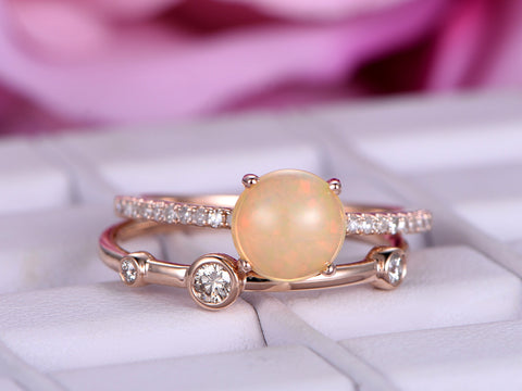 Chic Round Opal Wedding Ring Sets  Diamond Wedding Band 14K Rose Gold 7mm