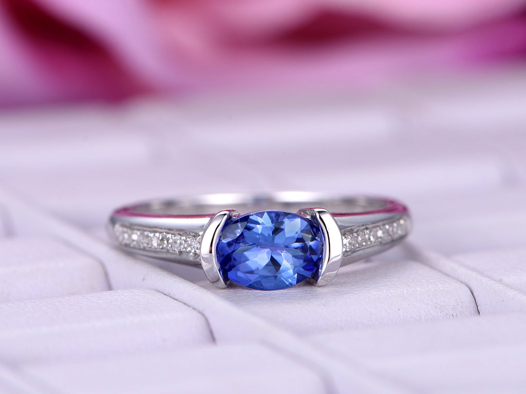 of long picture ring tanzanite diamond in and engagement white cushion gold cut rings ct
