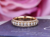 Diamond wedding band Eternity Anniversary ring 14k Yellow gold