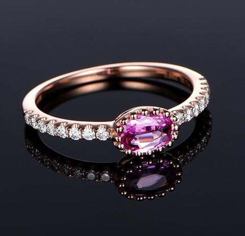 Oval Pink Sapphire Engagement Ring Pave Diamond Wedding 14K Rose Gold 4x6mm - Lord of Gem Rings - 1