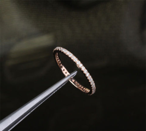 Pave Diamond Wedding Band Eternity Anniversary Ring 14K Rose Gold SI/H -THIN Design - Lord of Gem Rings - 1